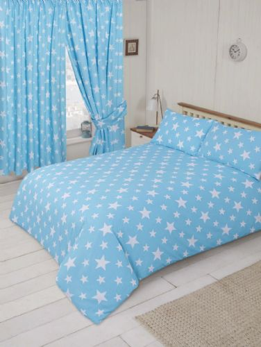 BLUE DUCK EGG KIDS GIRLS CHILDREN'S TRENDY STARS DESIGN DUVET COVER OR CURTAINS
